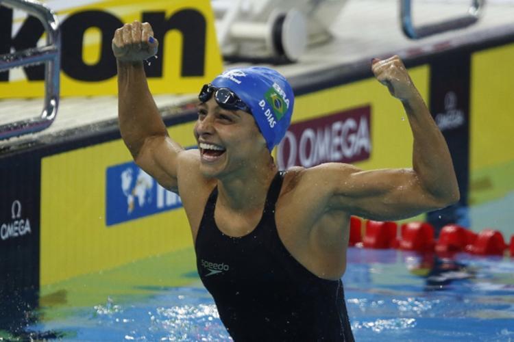 As medalhas de Etiene e Daiene (foto) foram as primeiras na história da Natação feminina em Mundiais em provas olímpicas - Foto: Satiro Sodré l SSPress l CBDA
