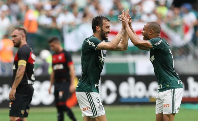 Vitória tentou, mas caiu diante do campeão brasileiro de 2018 - Foto: Cesar Greco | Divulgação | Palmeiras