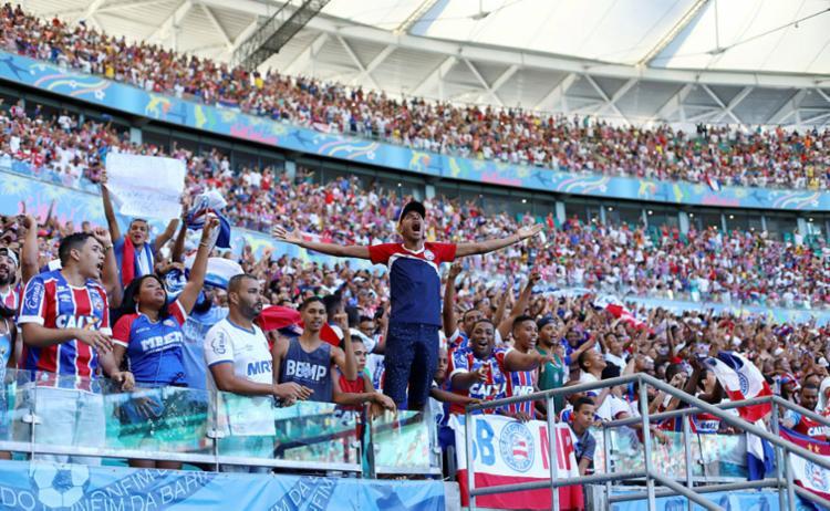 Torcida promete fazer a festa em Pituaçu para apoiar o time na última partida - Foto: Adilton Venegeroles   Ag. A TARDE