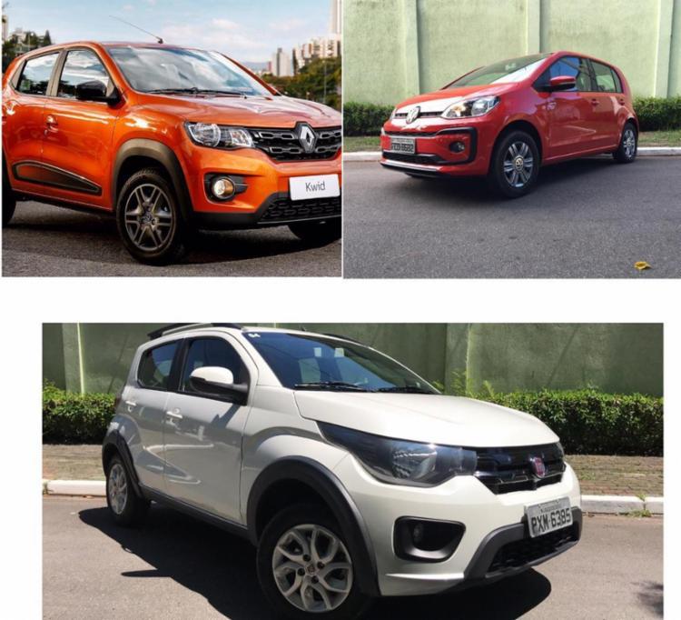 Renaul Kwid, Volkswagen up e Fiat Mobi são algumas opções - Foto: Divulgação
