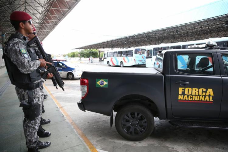 Agentes da Força Nacional fazem policiamento ostensivo em Fortaleza - Foto: José Cruz | Agência Brasil
