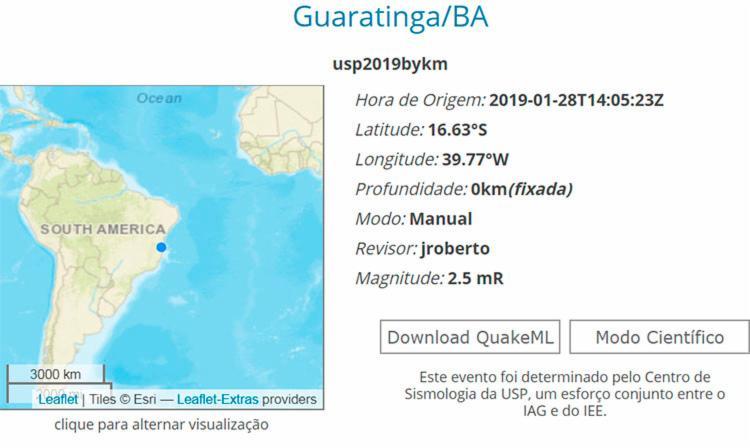 Segundo informações do Centro de Sismologia da USP, o evento sismico atingiu 2,5 grau da escala Richter