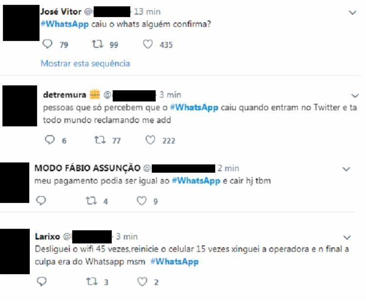Diversas pessoas relataram no Twiiter, chegando a #Whatsapp ao segundo lugar do trends topics