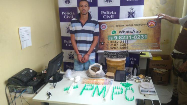 O suspeito foi preso no bairro 115, na entrada do município de Amélia Rodrigues - Foto: Divulgação | SSP-BA