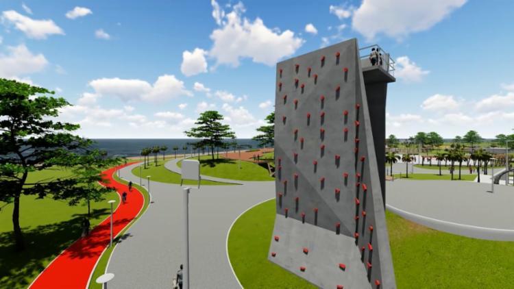 Uma parede para a prática de escalada também será implementada no local