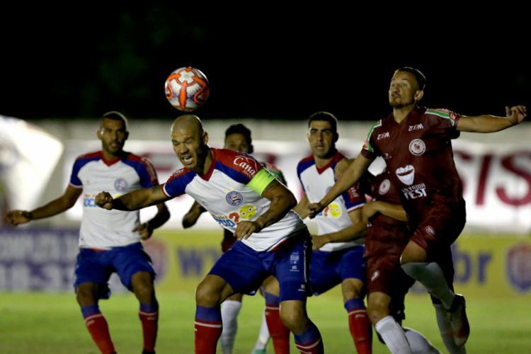 Equipe reserva do Esquadrão pouco assustou o adversário e ainda leva gol no fim da partida - Foto: Felipe Oliveira l ECBahia