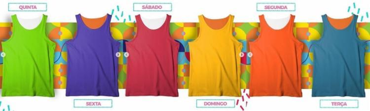O camarote terá uma camisa de cada cor para os seis dias de festa - Foto: Divulgação