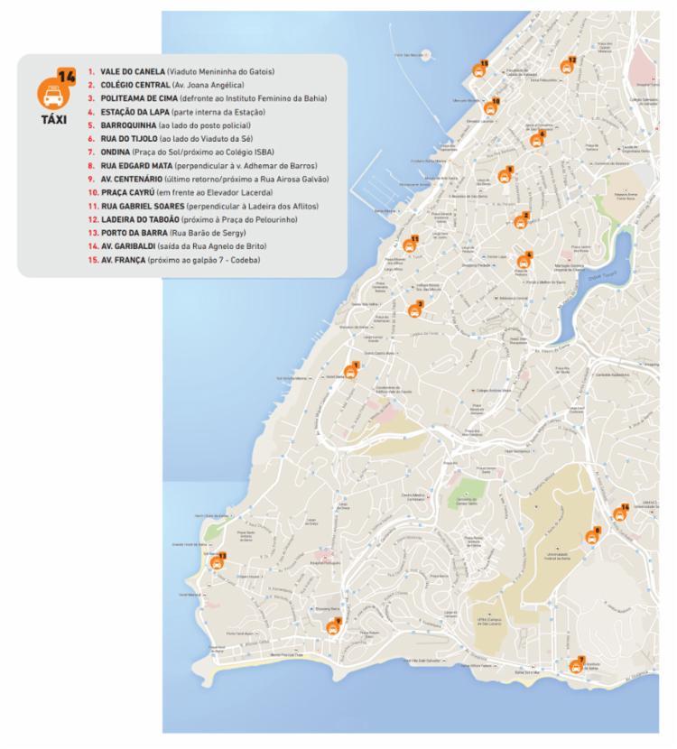 Estão distribuídos 15 pontos de táxi nos circuitos.
