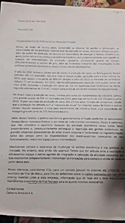Carta enviada pela empresa Calheira Almeida S/A aos produtores de café da região de Ilhéus.