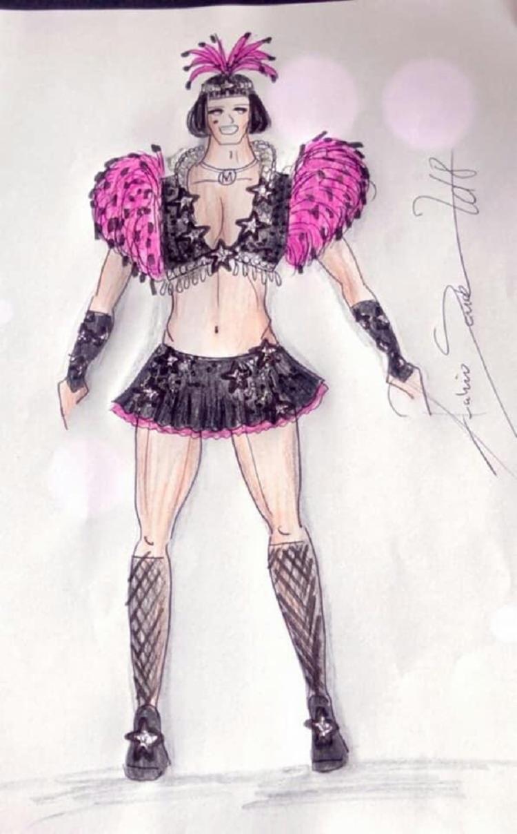 O look sugere algo glamouroso e sensual,contando com uma cabeça em rabo de galo e cristais, ombro com farpas de pluma e chinchila