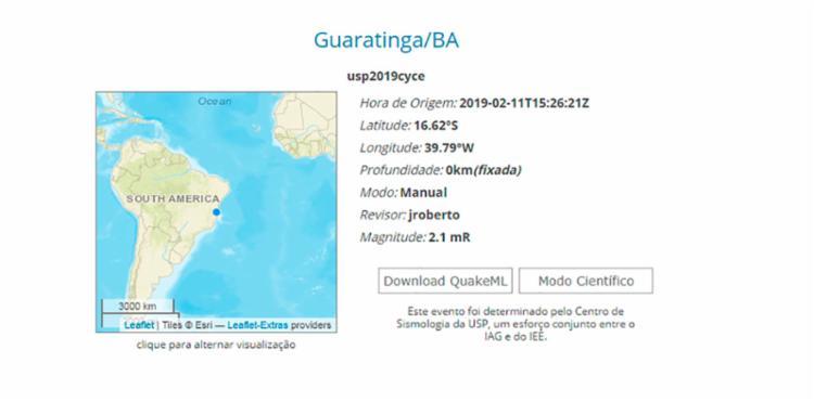 O evento sísmico atingiu 2,1 grau da escala Richter
