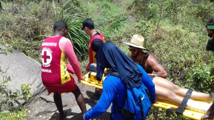 a vitima lesionou o braço no acidente - Foto: Divulgação | CBMBA