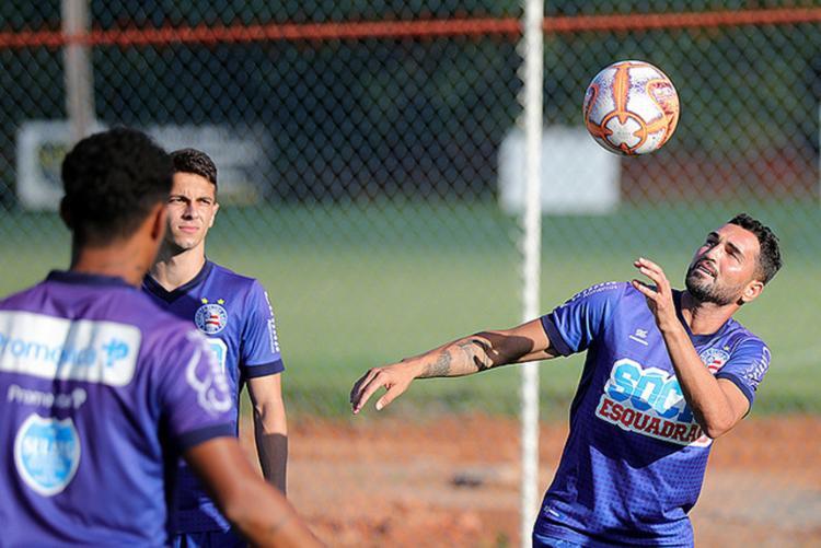 Em revezamento de artilheiros, Gilberto volta nesta quarta-feira, 27, no lugar de Fernandão, mas ambos deverão ter chance de atuar contra o Atlético - Foto: Felipe Oliveira l EC Bahia