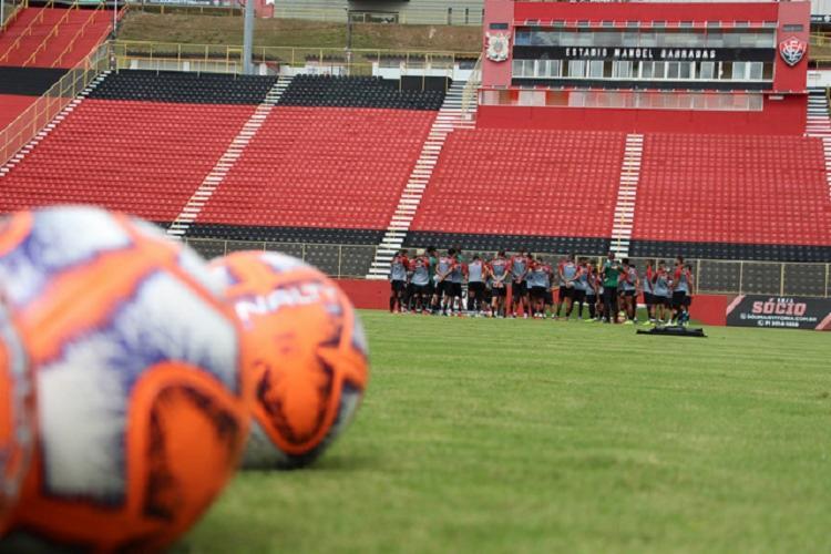 A atividade no Barradão foi realizada com os portões fechados - Foto: Moysés Suzart | EC Vitória