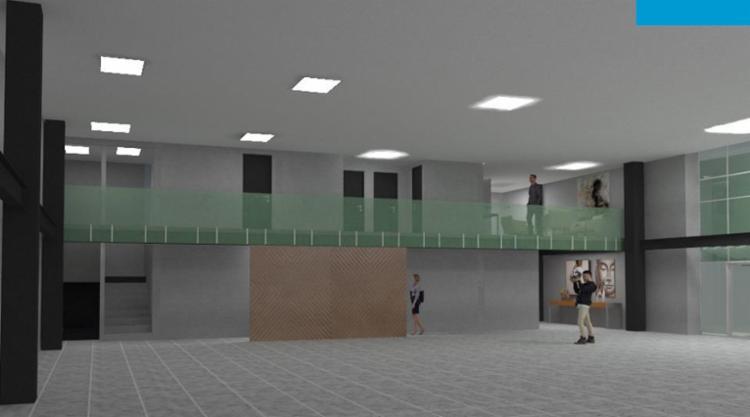 Projeto do salão térreo, com cozinha integrada