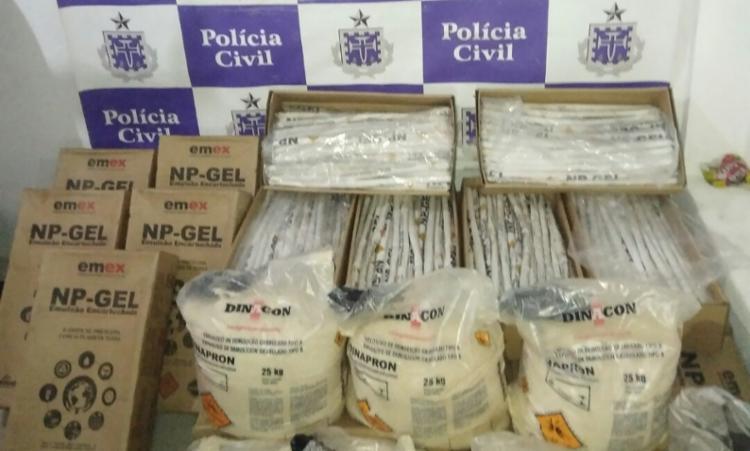Artefatos em formatos granulado e emulsão foram encontrado em um imóvel em Baixa Funda - Foto: Divulgação   SSP