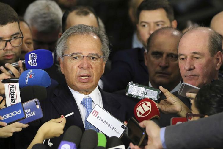 O ministro da Economia falou à imprensa sobre a proposta de reforma da Previdência dos militares, entregue pelo presidente Jair Bolsonaro na Câmara dos Deputados - Foto: Fabio Rodrigues Pozzebom l Agência Brasil