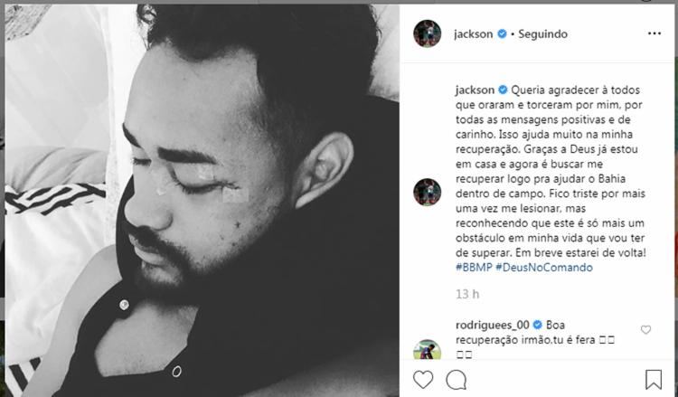 Jackson agradeceu o carinho nas redes sociais