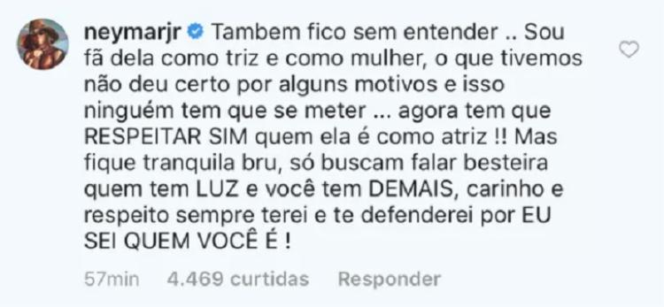 Neymar Jr. comentou uma publicação da página Cutucadas, no Instagram, para defender sua ex-namorada
