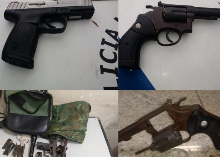 Com o grupo foram encontrados armas, carregadores e munições - Foto: Divulgação   SSP