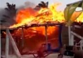 Braseiro de vendedor de queijo gera incêndio praia | Reprodução | Teixeira News