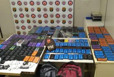 Trio dorme em shopping de Salvador e tenta furtar mais de 200 celulares   Divulgação   SSP-BA