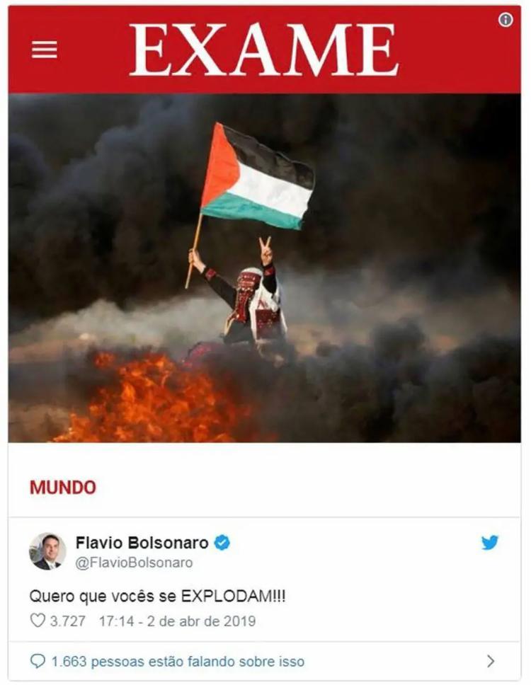Filho de Jair Bolsonaro escreveu mensagem em resposta à uma notícia sobre os ataques do movimento radical palestino à visita do presidente brasileiro ao Muro das Lamentações; momentos depois ele deletou o tuíte