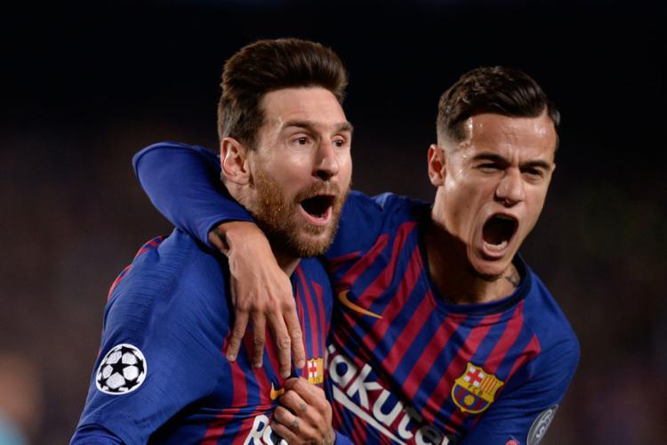 Lionel Messi e Philippe Coutinho garantiram o Barça na próxima fase - Foto: Pau Barrena l AFP