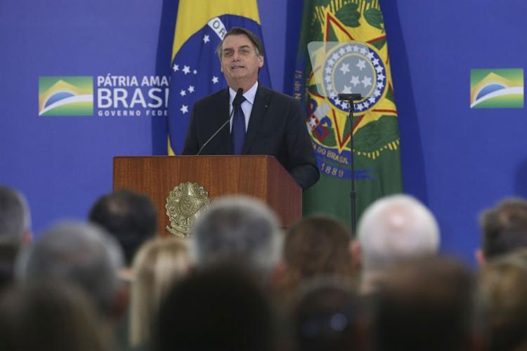 Em entrevista a jornalistas, mais cedo, Bolsonaro contou que a ideia surgiu por iniciativa do deputado João Campos (PRB-GO) - Foto: Antonio Cruz l Agência Brasil