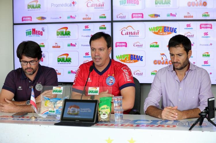 Dado Cavalcanti (centro) será o técnico do Bahia no Brasileiro de Aspirantes - Foto: Felipe Oliveira   EC Bahia