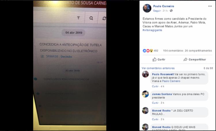A informação foi confirmado em rede social pelo próprio ex-presidente