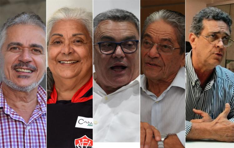 Cinco candidatos disputam a preferência do sócio rubro-negro; presidente eleito vai ter gestão até dezembro de 2022 - Foto: Montagem l AG. A TARDE