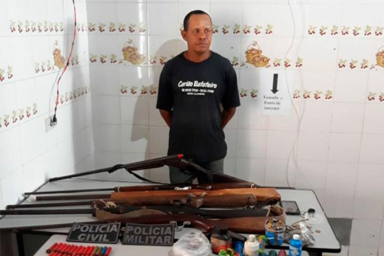 José Antonio foi autuado por porte ilegal de arma de fogo e receptação - Foto: Divulgação | SSP-BA