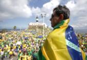 Ato em apoio ao governo Bolsonaro reúne manifestantes no Farol da Barra | Foto: Uendel Galter l Ag. A TARDE