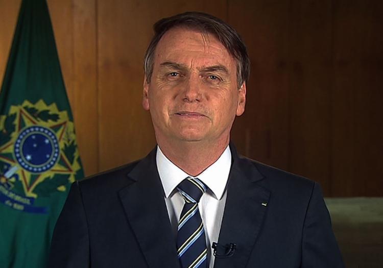Presidente Jair Bolsonaro durante pronunciamento de 1º de maio - Foto: Reprodução l TV Brasil