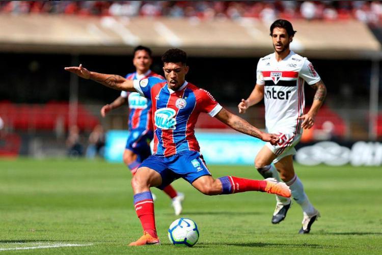 Esquadrão não aproveitou as oportunidades, mesmo com um jogador a mais no segundo tempo - Foto: Felipe Oliveira | EC Bahia