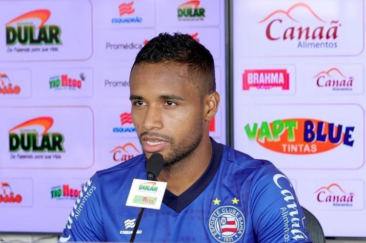 O atacante, que foi poupado no Brasileirão, volta ao time titular nesta quarta-feira, 28 - Foto: Felipe Oliveira | EC Bahia