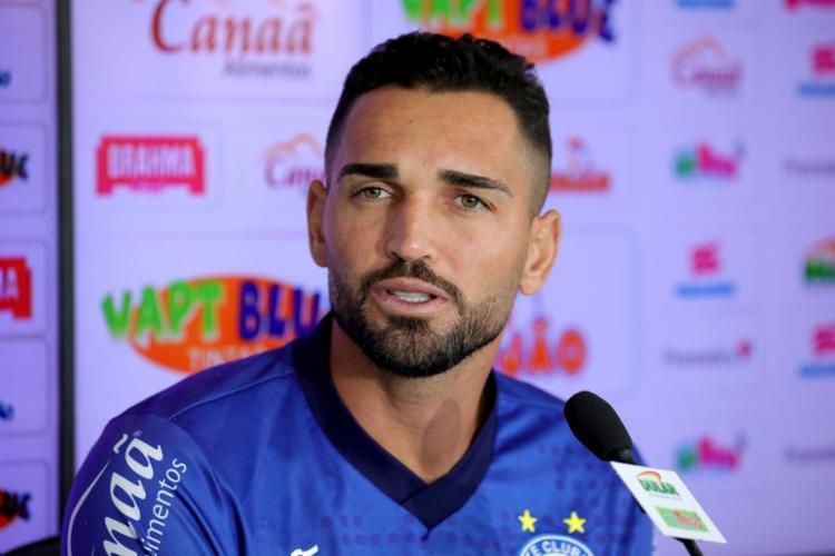 O atacante falou sobre o fim do jejum de seis jogos sem balançar as redes - Foto: Felipe Oliveira | EC Bahia
