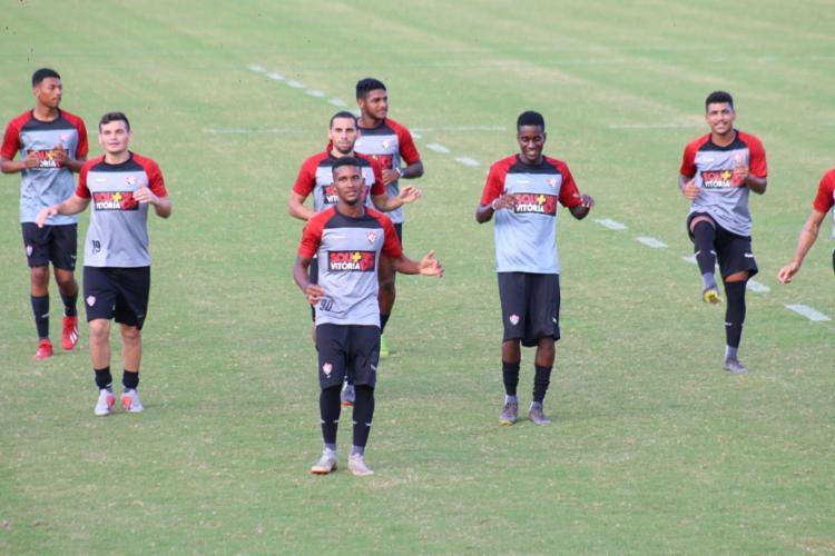 O s jogadores realizaram último treino em Salvador antes o duelo contra o Atlético-GO, no domingo - Foto: Divulgação | EC Vitória