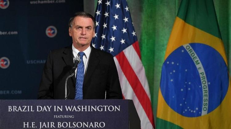 Bolsonaro falou por quase 15 minutos, disparando muitas críticas à imprensa - Foto: Mandel Ngan   AFB