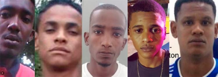 Da esquerda para a direita, foram presos: Juninho, Romário, Isaías, Rafael e Éverton - Foto: Divulgação   SSP-BA