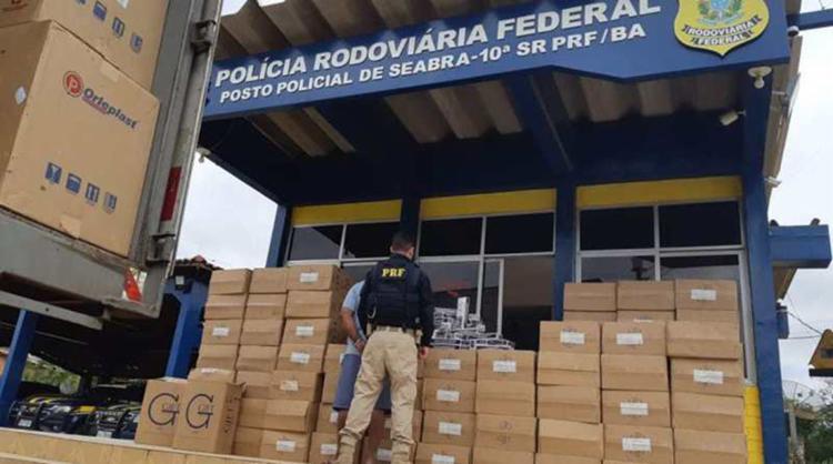 Avaliada em quase R$ 800 mil, mercadoria saiu de Curitiba com destino a Fortaleza - Foto: Divulgação | PRF