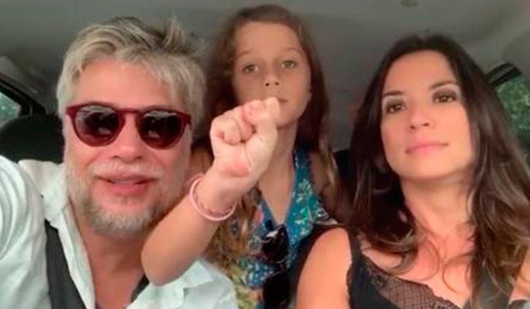 Fábio Assunção ao lado da filha e da nova namorada - Foto: Reprodução | Instagram