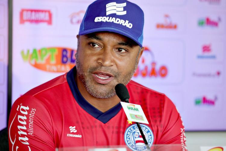 O técnico do Tricolor também explicou suas intenções com a alteração tática - Foto: Felipe Oliveira l EC Bahia