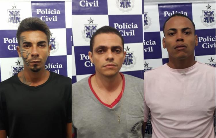 Matheus (centro) contou com a ajuda de Iago (à esq.) e Lucas (à dir) para cometer o crime - Foto: Divulgação   SSP-BA