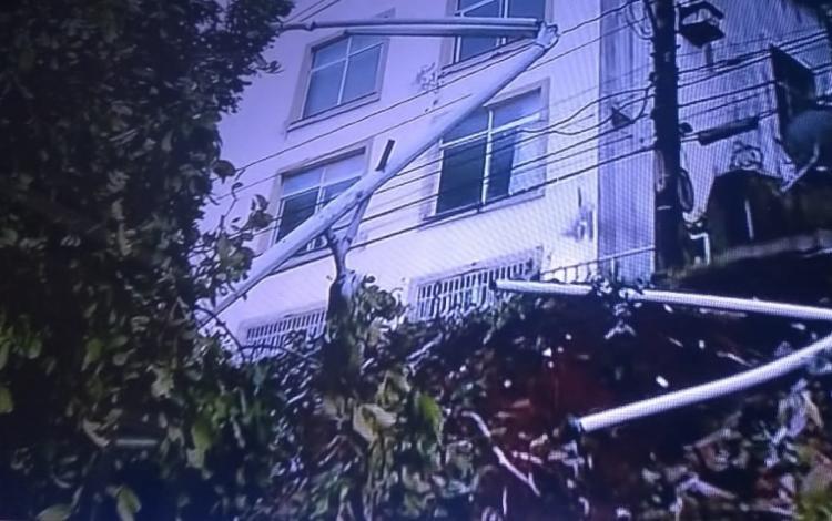 A queda da árvore também danificou um poste que fica próximo da mesma - Foto: Reprodução | TV Record