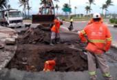 Cratera deixa trânsito interditado na avenida Jorge Amado | Foto: Divulgação | Transalvador
