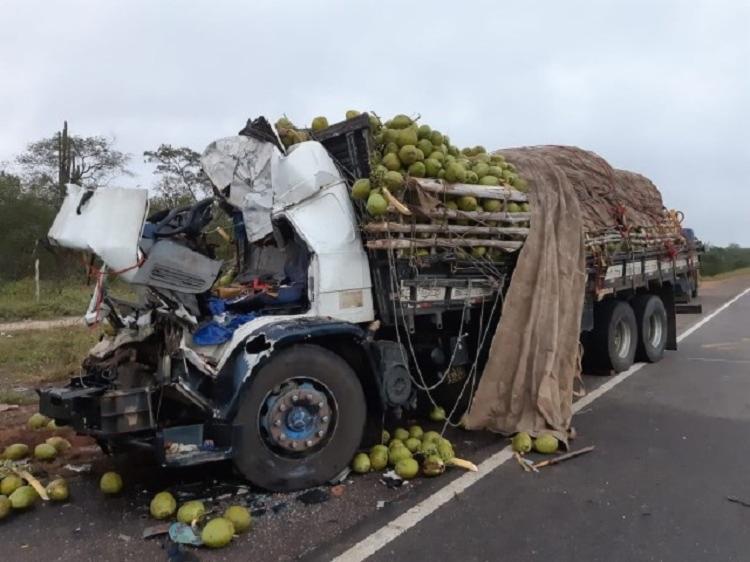 O motorista do caminhão não resistiu a colisão e morreu - Foto: Divulgação   PRF
