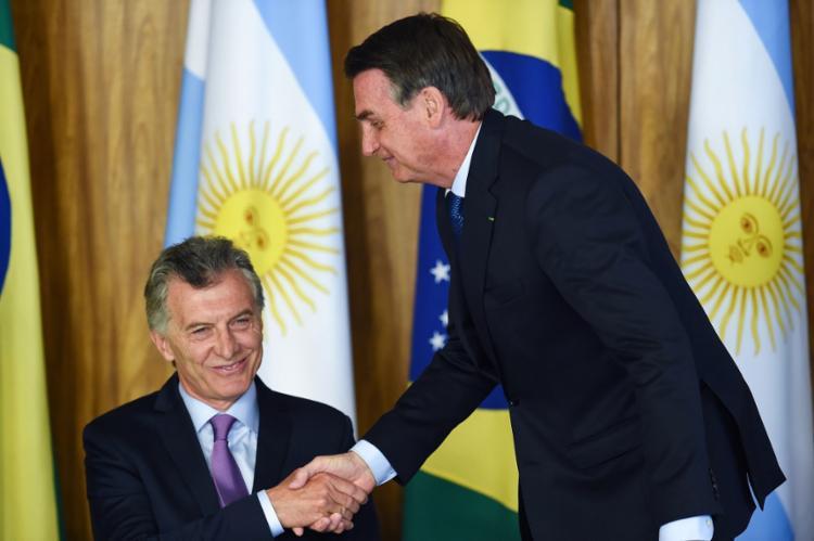 Bolsonaro e Macri devem fazer uma declaração conjunta à Imprensa nesta quinta, às 12h40 - Foto: Evaristo Sá | AFP