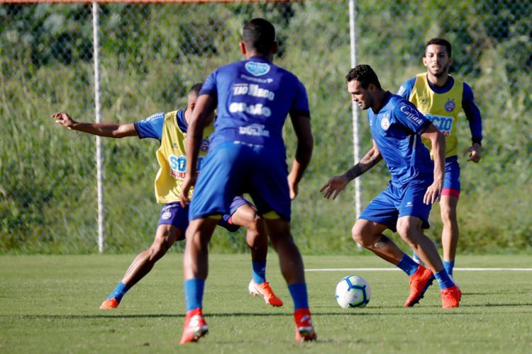 Recuperado de lesão, o atacante Gilberto treinou normalmente - Foto: Felipe Oliveira | EC Bahia